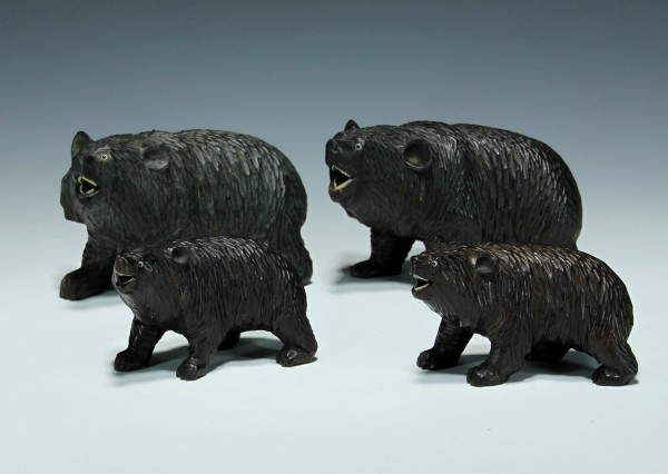 4 Japanese Carved Wooden Bears with Glass Eyes