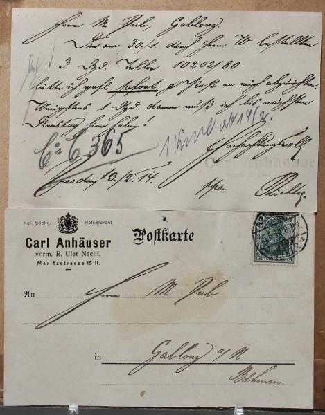 2 Postkarten + 2 Quittungen Carl Anhäuser, Villeroy&Boch, Dresden - Gablonz