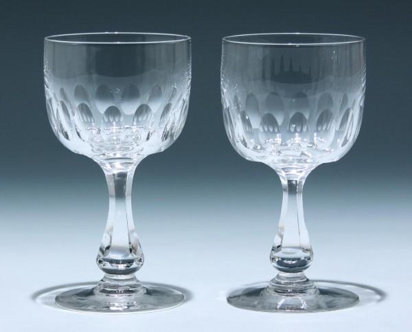2 Bleikristall Kelchgläser Frankreich circa 1900 - Höhe 15,3 cm