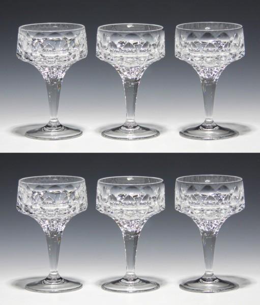 6 Bleikristall Likörschalen MINERVA Peill 1962-Copy