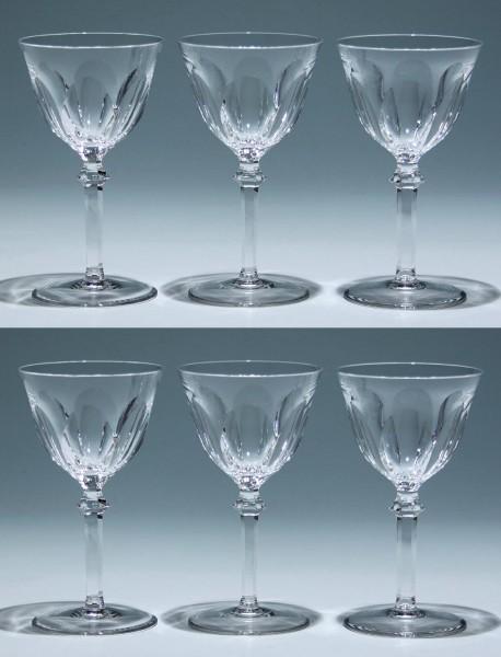 6 Weingläser mit Schälschliff Mitte 20. Jh. - 15,4 cm