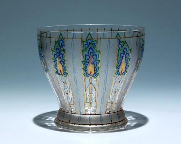 Signierte Jugendstil Glasvase Johann Oertel & Co. Haida um 1915