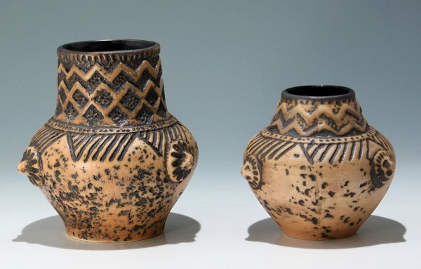 2 Jasba Keramik Vasen GERMANY 1960er Jahre