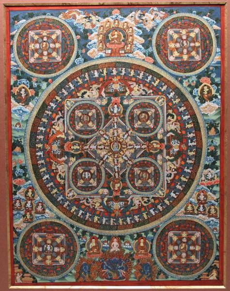 Mandala Thangka mit reicher Goldbemalung - Kathmandu Nepal 20. Jh.
