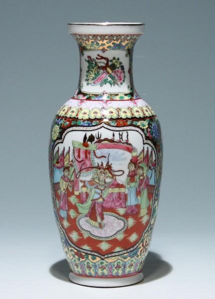 Handbemalte Porzellanvase - China 2. H. 20. Jh. 25,7 cm