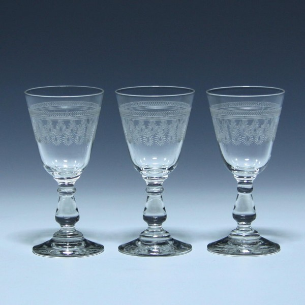 3 Jugendstil Bleikristall Likör Schnapsgläser mit Ätzdekoration - um 1910 - 10,5 cm