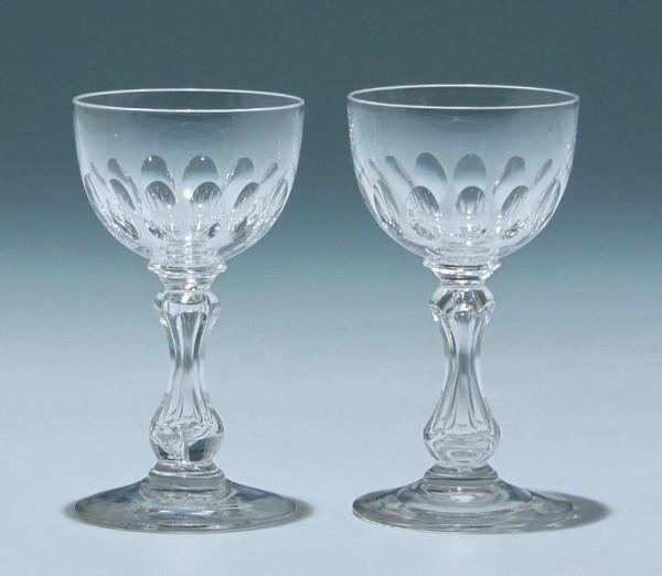 2 Bleikristall Hohlschaftgläser Frankreich circa 1900 - Höhe 10,3 cm
