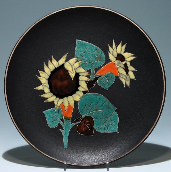 RUSCHA Keramik Wandteller SONNENBLUMEN 1958 30,3 cm