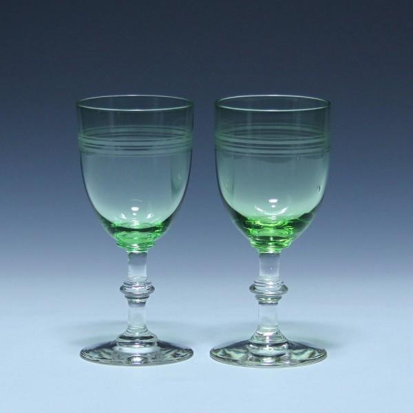 Paar Jugendstil Weingläser mit grünem Kelch - um 1910
