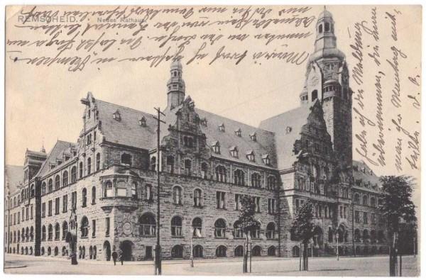 Ansichtskarte REMSCHEID NEUES RATHAUS - gelaufen 1910 #ak0010