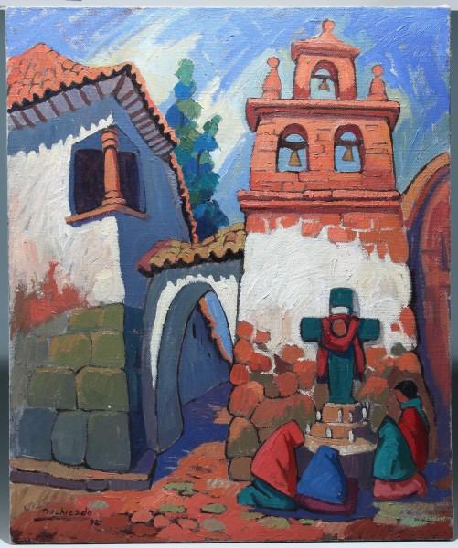 Juan de la Cruz Machicado Painting PLAZOLETA DE NAZARENAS 1992