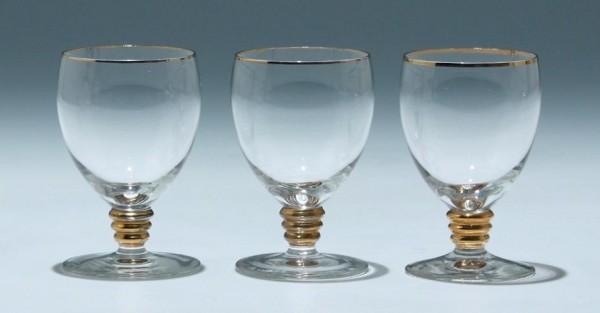 3 Art Deco Kelchgläser Frankreich - Höhe 9,1 cm - Serie 8