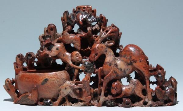 Großer Speckstein Tuschpinselwascher mit Binnengravur