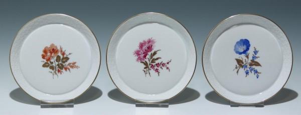3 handbemalte Höchst Porzellan Tellerchen I. Wahl