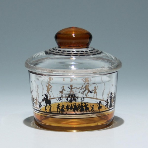 Glasdose mit Schwarzlotbemalung Entwurf Adolf Beckert, Steinschönau um 1915