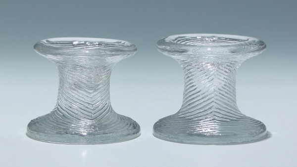 A Pair of Casted Glass Candlesticks - 1970s