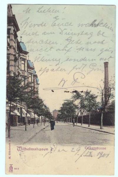 Ansichtskarte WILHELMSHAVEN GÖKERSTRASSE - gelaufen 1901 #ak0023