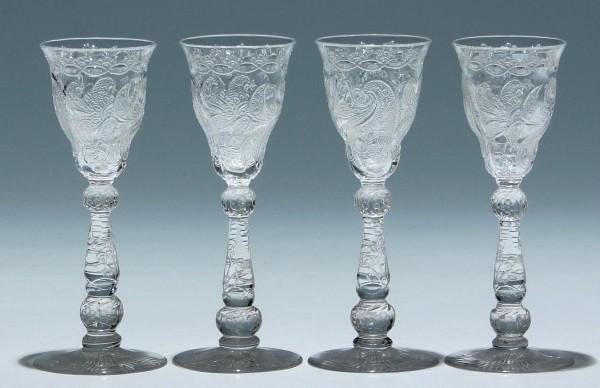 4 Etched and Handcut Rock Crystal Liquerglasses - circa 1900