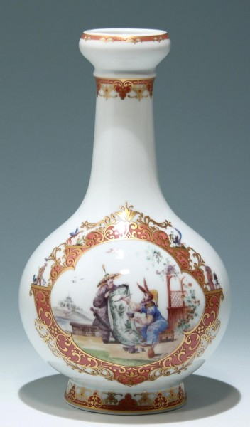 Kaiser Porzellan Vase Dekor CHINOIS - Bestoßung am Fußrand