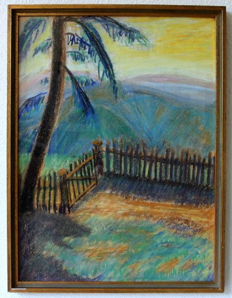 Pastell BERGLANDSCHAFT hinter Glas gerahmt - 1. H. 20. Jh. - 59 x 45 cm