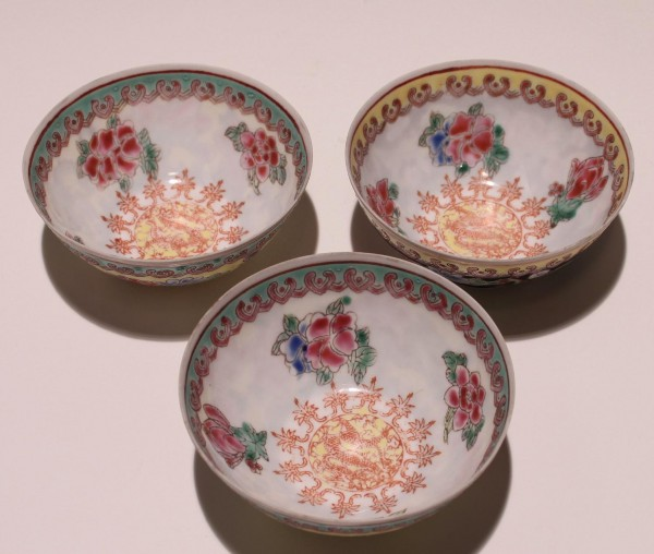 3 Chinese Eggskin Porcelain Cups