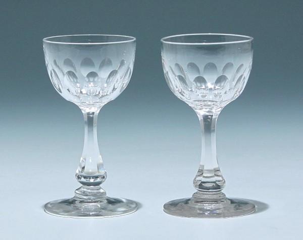 2 Bleikristall Kelchgläser Frankreich circa 1900 - Höhe 11 cm