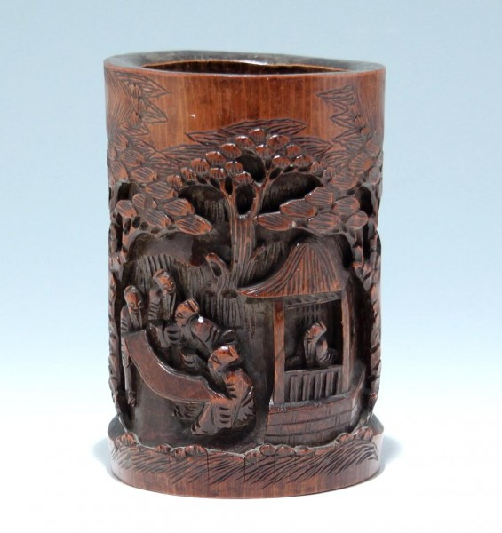 Chinese Carved Bamboo Brushpot - 19th C.