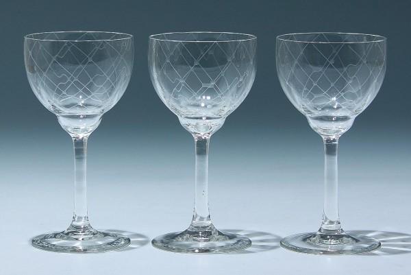 3 Gistl Weingläser KOBLENZ - 1950er Jahre