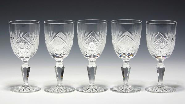 5 Bleikristall Sherrygläser mit Blank- und Mattschliff - 12,9 cm