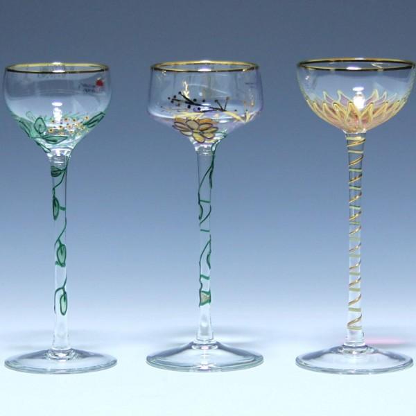 3 handbemalte Nagel Tiffany Art Likörgläser 1980er Jahre