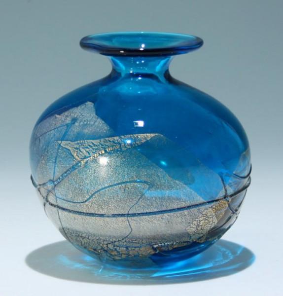 Signierte Studioglas Vase mit Goldfolie Mdina / Malta - 1200 Gramm