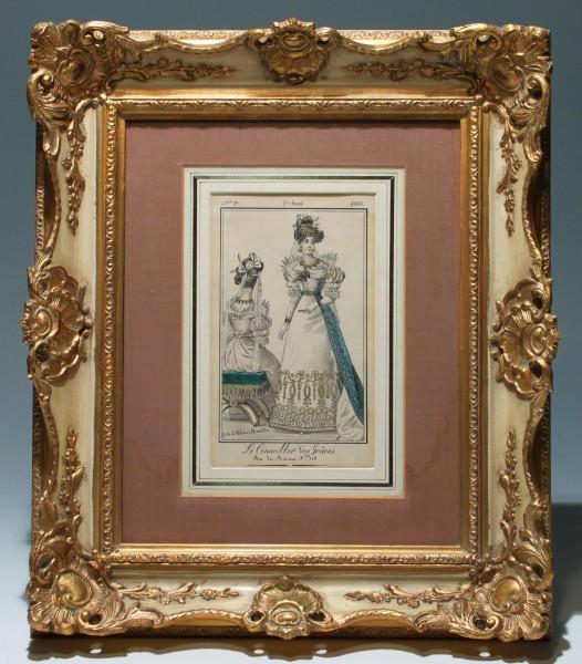 Handkolorierte Biedermeier Mode Lithografie aus LE CONSEILLER DES GRACES - Blatt Nr. 80 - 2. Jg. 18