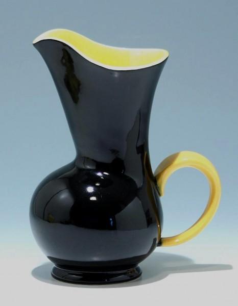 Schwarzgelbe Keramik Kanne 1950er Jahre