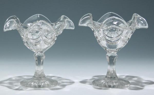 Paar Pressglas Fußschalen Eisschalen - 1. H. 20. Jh.