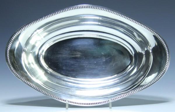 Silberschale Perlrand Halbmond + Krone 800 210 Gramm 30 x 18,8 cm.