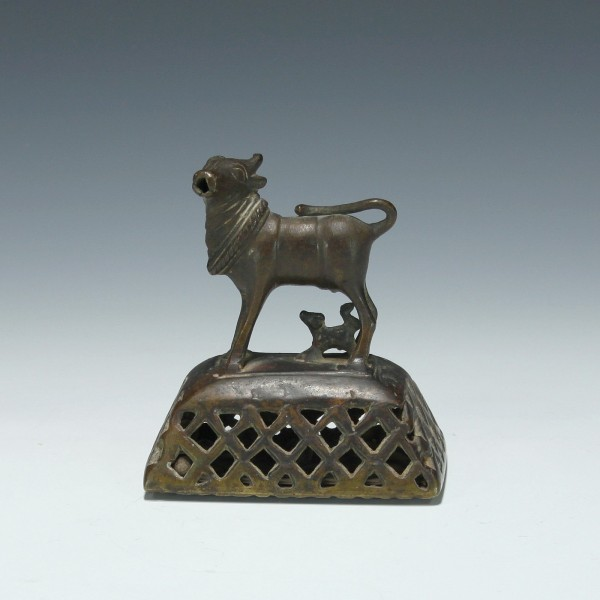 Indian Holy Cow Figure Brass Foot Scrubber Bell - 19th. C.