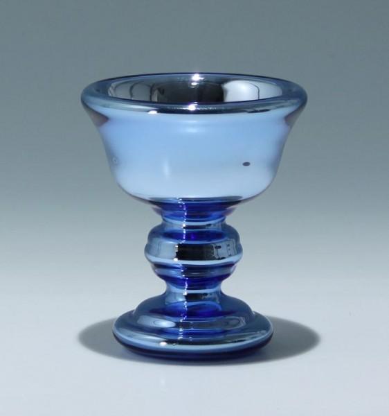 Blaue Art Deco Silberglas Fußschale - Abriss mit Glassiegel - 1930er Jahre