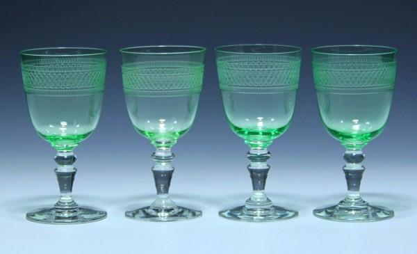 4 Jugendstil Bleikristall Urangläser mit Ätzdekoration - um 1910 - 13,3 cm