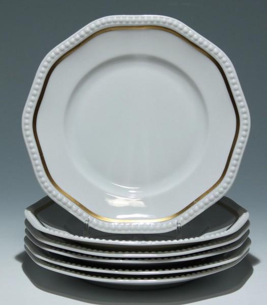 6 Rosenthal Kuchenteller PERLRAND mit Goldrand - 20 cm