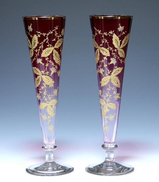 Paar hohe Vasen Pokale ANDENKEN AN ILSENBURG um 1900 33,4 cm