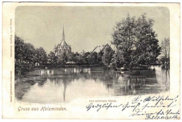 AK - HOLZMINDEN - Der mittlere Teich - gelaufen 1903 #ak0155