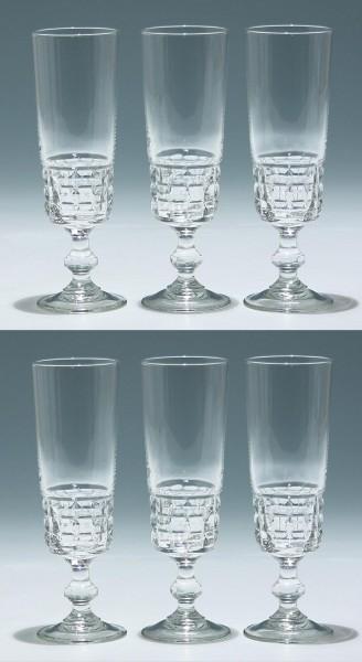 6 Cristal d`Arques / Luminarc Sektgläser QUADRILLE 17 cm