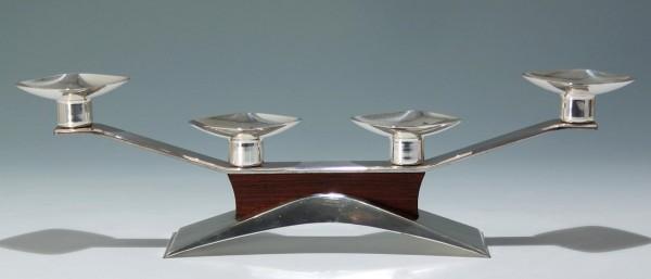 Versilberter Kerzenleuchter Tischleuchter Teakholz - 1960er Jahre