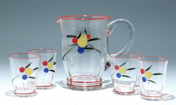 Große handbemalte Glaskanne mit 4 Bechern - 1950er Jahre