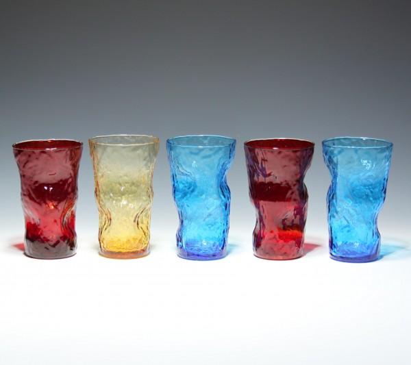 5 farbige Glasbecher - Italien 1970er Jahre