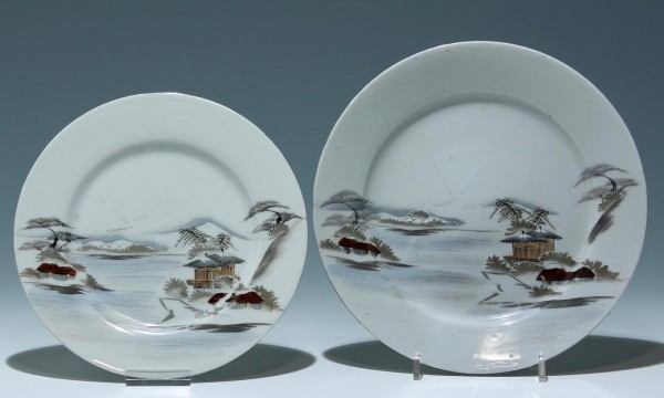 A Pair of marked Japanese River Scene Plates, possibly Kutani