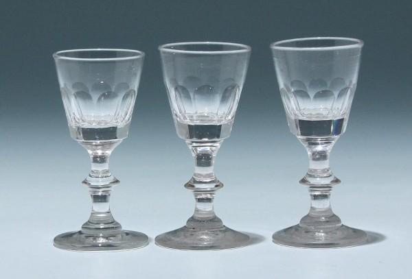 3 Bleikristall Kelchgläser - Frankreich 19. Jh. - 10 cm