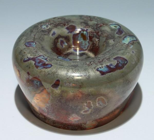 Teelichthalter / Schale MIMOSA mit Reduktionsfarbenbemalung