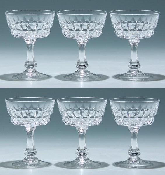 6 Cristal d`Arques Sektschalen POMPADOUR