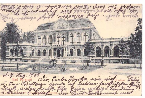 Ansichtskarte BAD PYRMONT - KURHAUS - gelaufen 1910 #ak0024